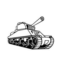M4 sherman medium tank mascot black and white vector