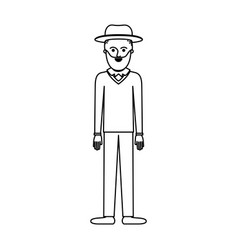 man with hat and sweater and pants and shoes with vector image