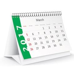 March 2017 desk calendar - vector