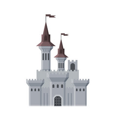 Medieval castle fairytale fortress with towers vector