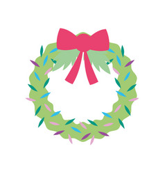 merry christmas celebration floral wreath bow vector image
