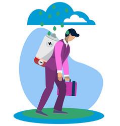 Metaphor of man fatigue businessman overwork in vector