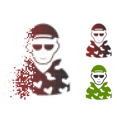 Moving pixelated halftone swat soldier icon with vector