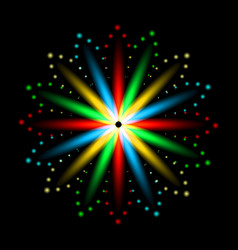 multicolored lights flame petals in a circle vector image