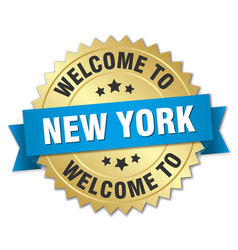 New york 3d gold badge with blue ribbon vector