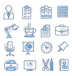office line icons on white background vector image