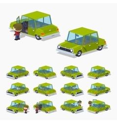 Old green sedan vector