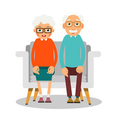 Old people sitting on the sofa sit elderly woman vector