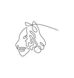 one line tiger head design silhouette vector image