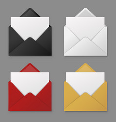 open envelope black red and white yellow vector image