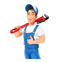 Plumber man with pipe wrench vector