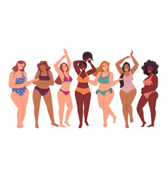 plus size woman in bikini body positive ladies vector image
