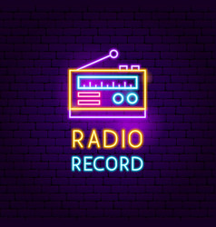 Radio record neon sign vector
