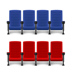Realistic comfortable movie chairs cinema empty vector