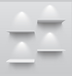 realistic white shelves empty store bookshelf vector image