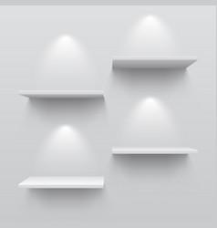 realistic white shelves empty store bookshelf vector image