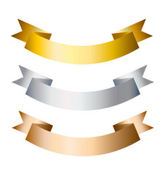 ribbons banners golden silver and bronze flat vector image