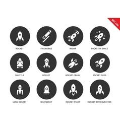 rocket icons on white background vector image