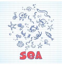 Sea life elements vector