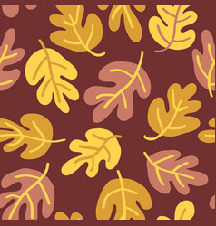 seamless pattern of fall oak leaves vector image