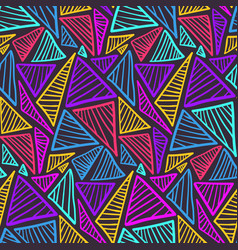 seamless pattern with colorful scratched triangles vector image