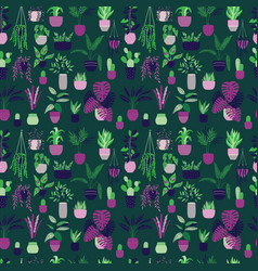 Seamless pattern with house plants vector