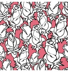 Seamless pattern with silhouette white roses vector image