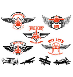 set airplane show labels emblems with wings vector image