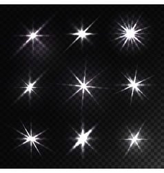 Set glowing light stars with sparkles vector