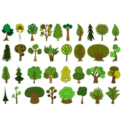 Set of cute doodle trees tree doodles isolated vector