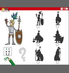 shadows task with cartoon knight character vector image