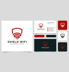 shield wifi logo design and business card vector image