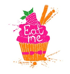 Silhouette of colorful cupcake vector image