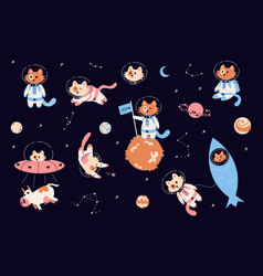 space cats cartoon funny kitties in spacesuits vector image