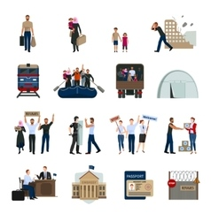 Stateless Refugees Flat Icons Set vector image