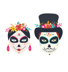 sugar skulls woman and man dia de los muertos vector image