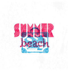 summer beach retro sign badge banner template vector image
