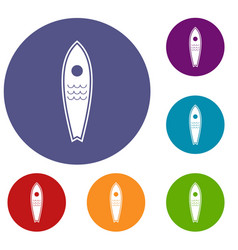 Surfboard icons set vector