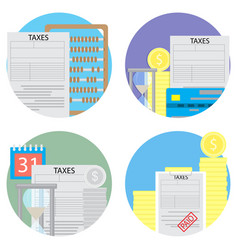 Taxes count and pay a set of icons vector