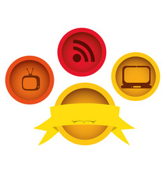 Technology buttons apps with emblem and ribbon vector