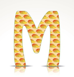 the letter m alphabet made mango vector image