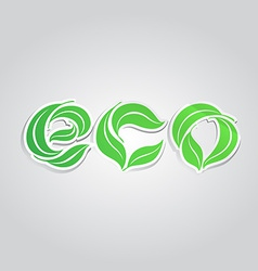 The word ECO composed from the leaves Stickers vector image
