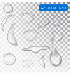 transparent drop water drip water rain vector image