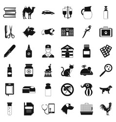 veterinary illness icons set simple style vector image
