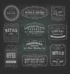 vintage labels ans signs on blackboard vector image