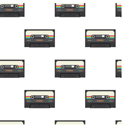 Vintage stereo cassette tape seamless pattern vector