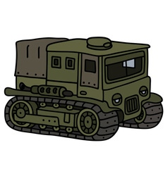 Vintage tracked transporter vector