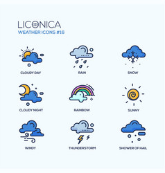 weather - coloured modern single line icons set vector image
