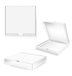 white cardboard box package for pizza realistic vector image
