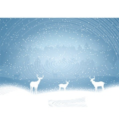 Winter landscape with deer vector image